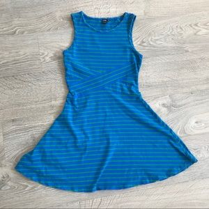 Green/Blue Stripes Skater Dress with Cinched Waist